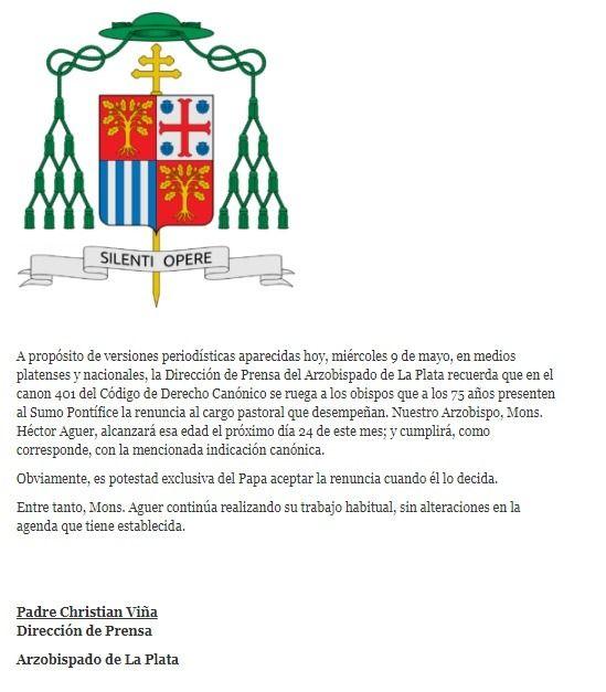 Monseñor Aguer dejará el arzobispado platense el 24 de mayo — Confirmado